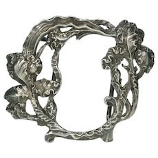 Silver Buckle Clasp with Frilly Iris and Leaf Motif