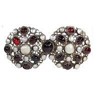 Antique Silver Belt Buckle, Austro-Hungarian Garnet and Mother of Pearl, c.1870