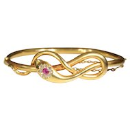 Victorian Gold Diamond Ruby Snake Bangle