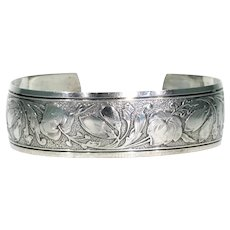 Wonderfully Engraved Vintage Danecraft Cuff Bangle Bracelet