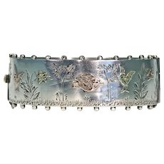 Antique Silver Victorian Bangle with Birds & Butterflies, Inscribed 1881