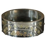 Victorian Sterling Silver Ivy and Roses Bangle Bracelet, Hallmarked 1880
