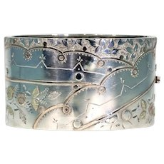 Antique Victorian Silver Bangle Bracelet, Birmingham 1883