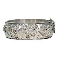 Vintage Silver Bangle Bracelet with Grape Motif