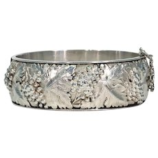 French Silver Bangle Bracelet with Grape Motif