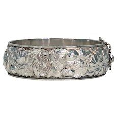 Antique Victorian Repoussed Silver Bangle