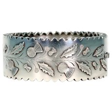 Antique Victorian Embossed Silver Bangle, Thistles & Leaves