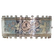 Antique Victorian Silver Bangle with Roses, Birmingham 1883