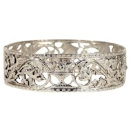 Antique European Silver Bangle, Pierced Pattern