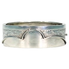 Antique Victorian Bangle Bracelet with Engraved Leaves