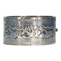 Victorian Silver Bangle Bracelet Anchor Morning Glory Motif