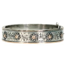 Victorian Sterling Silver Bangle Bracelet with Golden Sunflowers