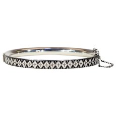 Antique Silver Enamel Black and White Patterned Bangle Bracelet