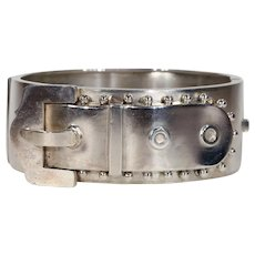 Sterling Silver Victorian Buckle Bangle Bracelet