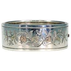 Antique Victorian Embossed Silver Bangle Bracelet