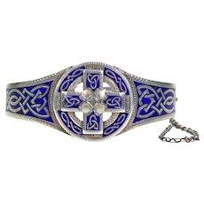 Antique Russian Blue Enamel Silver Celtic Style Bangle