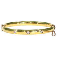 Edwardian Gypsy Set Diamond Gold Bangle Bracelet Thin Stacking