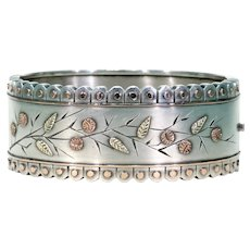 Victorian Aesthetic Movement Silver Bangle Bracelet Green Pink Gold Accents