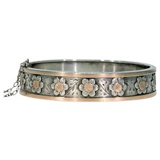 French Victorian Daisies Bangle Bracelet Rose Gold Accents