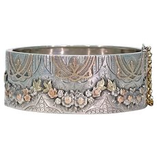Unusual Art Nouveau Victorian Garland Era Silver Bangle Braclet