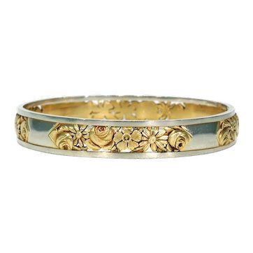 French Art Deco Two Tone 18k Gold Bangle Bracelet Pierced Floral Pattern