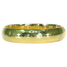 Art Deco French Faceted 18k Gold Bangle Bracelet