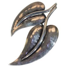 Beautifully Hand Crafted Sterling Leaves Brooch Made by Jopal for Georg Jensen