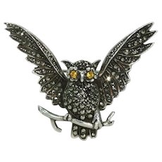 Vintage Silver Owl Brooch Pin  Marcasite Paste