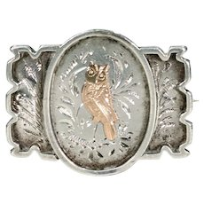 Antique Victorian Owl Brooch in Silver and Gold