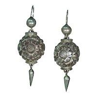 Antique Victorian Silver Drop Earrings Repoussed Floral Motif