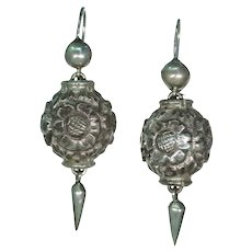 Antique Victorian Silver Drop Earrings Repoussed Floral Motif