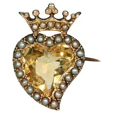 Antique Witches Heart Citrine Pearl Brooch Pin