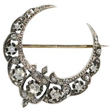 Antique French Silver Set Diamond Gold Crescent Brooch