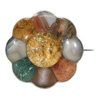 Scottish Silver Agate Rutilated Quartz Brooch