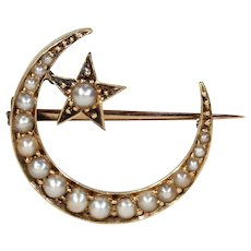 Victorian Crescent Moon Star Pearl Gold Brooch Pin