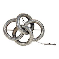 Antique Victorian Silver Engraved Love Knot Brooch