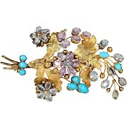 French Georgian Topaz Diamond Turquoise Gold Floral Brooch
