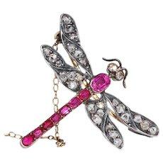 Art Nouveau French Ruby Diamond Dragonfly Brooch