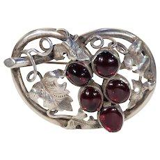 Antique Victorian Silver Garnet Brooch Pin Grapes