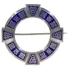 Large Antique Irish Plaid Pin Brooch Blue Enamel Celtic Motif