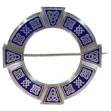 Large Antique Irish Plaid Pin Brooch Blue Enamel Celtic Motif