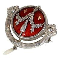 Antique Jugendstil Levinger & Bissinger Silver Enamel Brooch Red Gold