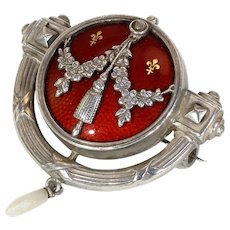 Antique Jugendstil Levinger & Bissinger Silver Enamel Brooch Red Gold