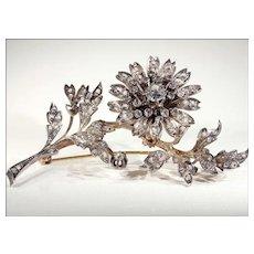 Antique French En Tremblant Diamond Floral Spray Brooch c. 1870