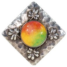 Arts & Crafts Ruskin Enamel Sterling Silver Brooch Pin Hammered