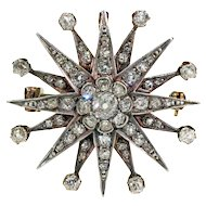 Victorian Diamond Star Brooch Pendant 3+cttw 18k Gold and Silver