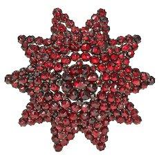 Large Victorian Bohemian Garnet Star Brooch Pin