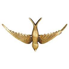 Victorian 15k Gold Swallow Brooch Bird Pin