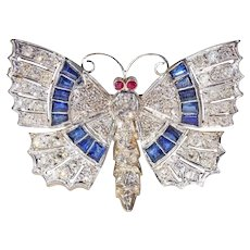 Art Deco Diamond Sapphire Ruby Butterfly Pin Pendant