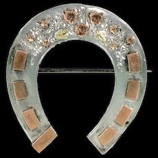 Victorian Horseshoe Brooch Pin Silver Gold Flowers